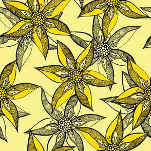 Love Blooms in Sunshine  (#1) - Daffodil Yellow on Buttery Yellow with Black - Large Scale