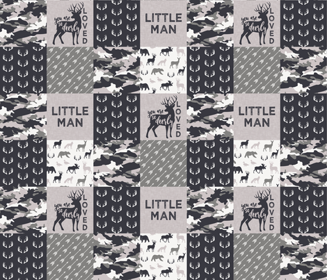 Little Man/Deerly Loved Woodland Wholecloth - C3 fabric by littlearrowdesign on Spoonflower - custom fabric