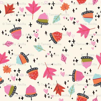 Autumn Acorns SMALL // fall, leaves, orange, pink, season, pumpkin spice,