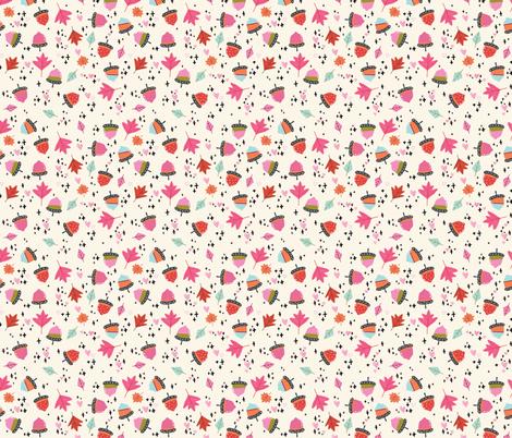 Autumn Acorns SMALL // fall, leaves, orange, pink, season, pumpkin spice,  fabric by tamara_arcilla on Spoonflower - custom fabric