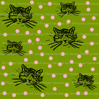 More Meow Kitty Cat Block Print Design:  Dark Grass Green With Pretty Pink Dots