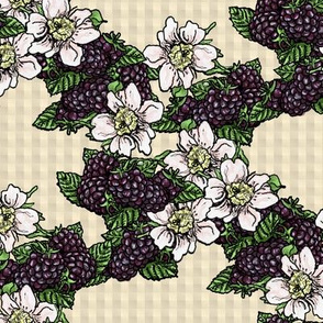 Blackberry Flowers and Berries - Kraft Gingham - Large Scale