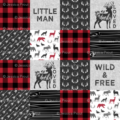Wild&Free/Deerly Loved Little Man Patchwork Wholecloth- C11 Plaid