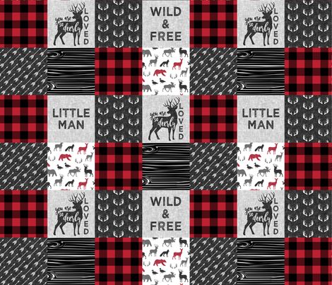 Wild&Free/Deerly Loved Little Man Patchwork Wholecloth- C11 Plaid fabric by littlearrowdesign on Spoonflower - custom fabric
