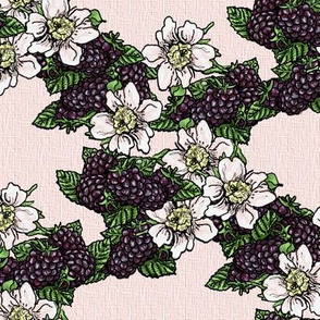Blackberries and Flowers - Light Pink Woven - Large Scale