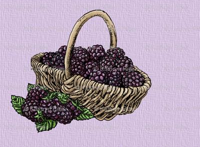 Blackberry Basket - Lavender Weave - Berries and Cream - Medium Scale