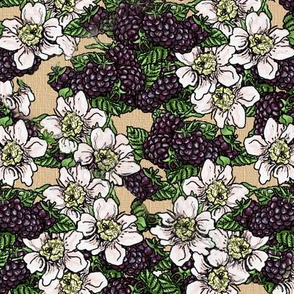 Blackberries and Blossoms - Tossed - Kraft Woven - Large Scale