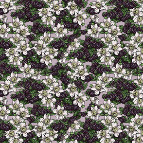 Blackberries and Flowers Tossed - Lavender Woven - Medium Scale