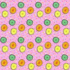 Pink Citrus Confetti SMALL  // lemon, orange, lime, yellow, mint, green, summer, fresh, fruit, girly, modern , trendy, tamara arcilla