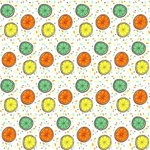 Citrus Confetti SMALL  // lemon, orange, lime, yellow, mint, green, summer, fresh, fruit, modern , trendy, tamara arcilla