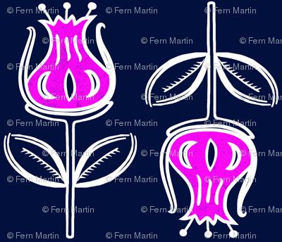 Botanical Flower on Navy