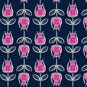 Botanical Flower on Navy