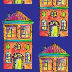 THE RAINBOW BRIGHT HOUSE ON BLUE PURPLE PSMGE