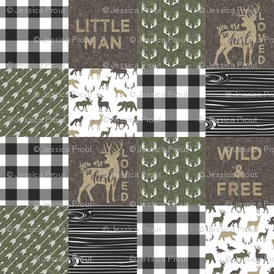 """(3"""" small scale)  Little Man/ Wild & Free woodland patchwork C2 plaid"""