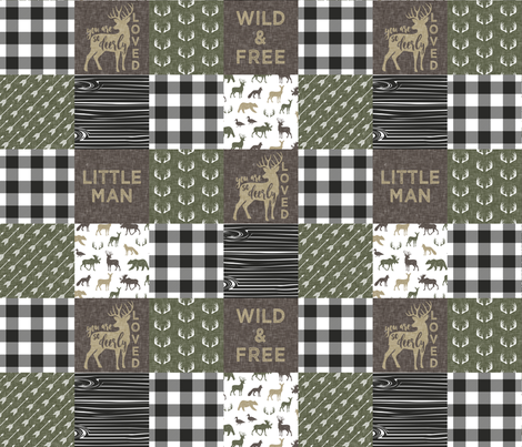 """(3"""" small scale)  Little Man/ Wild & Free woodland patchwork C2 plaid fabric by littlearrowdesign on Spoonflower - custom fabric"""