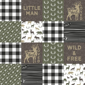 "(3"" small scale)  Little Man/ Wild & Free woodland patchwork C2 plaid"