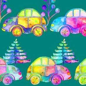 WATERCOLOR PRETTY CARS PROCESSION TRAFFIC ON EMERALD GREEN