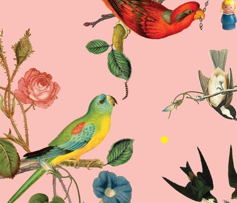 Chinoiserie vintage botanical birds fabric - heidi ...