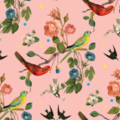 Chinoiserie vintage botanical birds