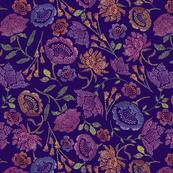 Passion Flowers {Indigo} - small scale