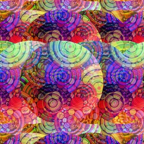 CRAZY RAINBOW IMAGINARY PLANETS ORANGE PURPLE GREEN