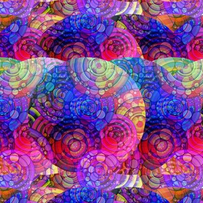 CRAZY RAINBOW IMAGINARY PLANETS PINK BLUE