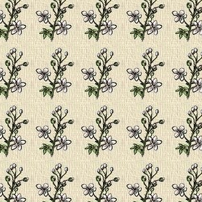 Blackberry Floral Sprig - Kraft Woven - Small Scale
