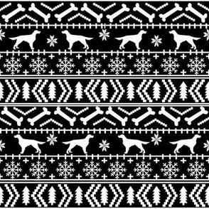 Irish Setter fair isle christmas dog silhouette fabric black and white