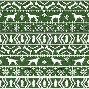 Irish Setter fair isle christmas dog silhouette fabric med green