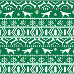 Irish Setter fair isle christmas dog silhouette fabric green