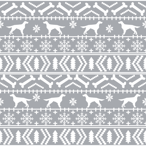 Irish Setter fair isle christmas dog silhouette fabric grey fabric ...