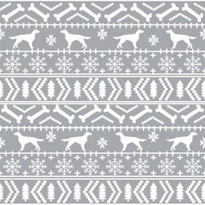 Irish Setter fair isle christmas dog silhouette fabric grey