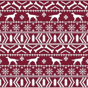 Irish Setter fair isle christmas dog silhouette fabric ruby