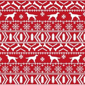 Irish Setter fair isle christmas dog silhouette fabric red