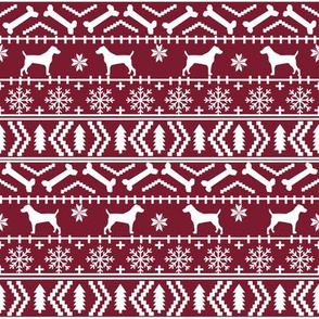Jack Russell Terrier fair isle christmas dog silhouette fabric ruby