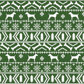 Jack Russell Terrier fair isle christmas dog silhouette fabric med green