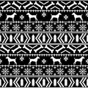 Jack Russell Terrier fair isle christmas dog silhouette fabric black and white