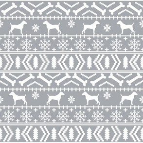 Jack Russell Terrier fair isle christmas dog silhouette fabric grey