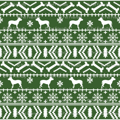 Pitbull fair isle christmas dog silhouette fabric med green