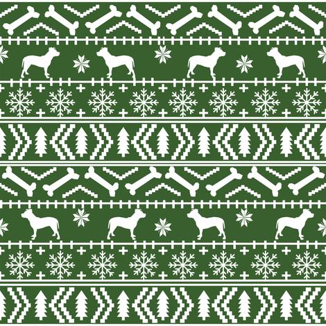 Pitbull fair isle christmas dog silhouette fabric med green fabric by petfriendly on Spoonflower - custom fabric