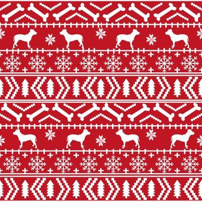 Pitbull fair isle christmas dog silhouette fabric red