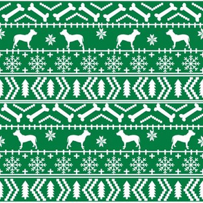 Pitbull fair isle christmas dog silhouette fabric green