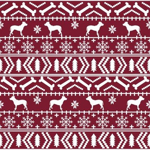 Pitbull fair isle christmas dog silhouette fabric maroon