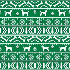 Poodle fair isle christmas dog silhouette fabric green