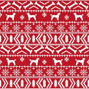 Poodle fair isle christmas dog silhouette fabric red