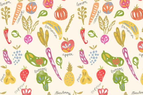 Fruits and Veggies Print fabric by aljahorvat on Spoonflower - custom fabric