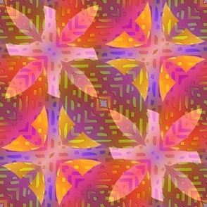 FLOWER POWER ABSTRACT PINK PURPLE CORAL BOHO SUNNY AFTERNOON