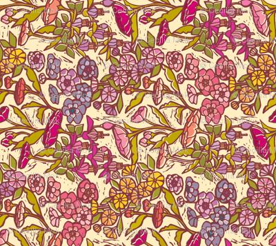 Woodcut Garden {Peach Dream} Tea Towel