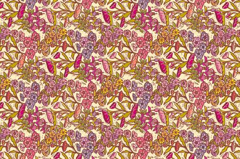 Woodcut Garden {Peach Dream} Tea Towel fabric by ceciliamok on Spoonflower - custom fabric