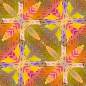 FLOWER POWER ABSTRACT MARIGOLD YELLOW CORAL BOHO SUNNY AFTERNOON
